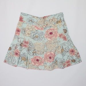 Dresses & Skirts - Mint green pink beige floral A-line pleated skirt
